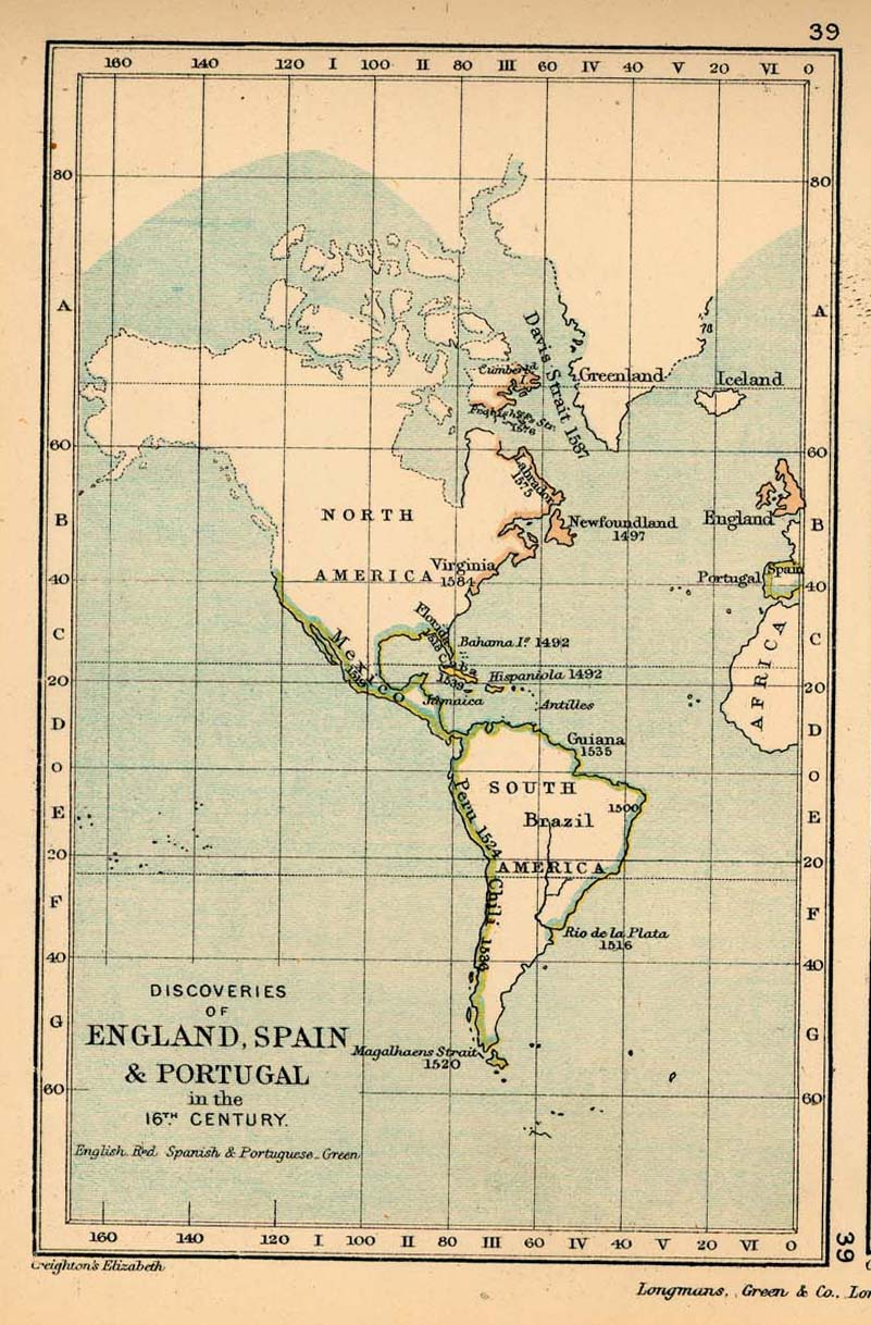 Discoveries of England, Spain and Portugal in the 16th Century