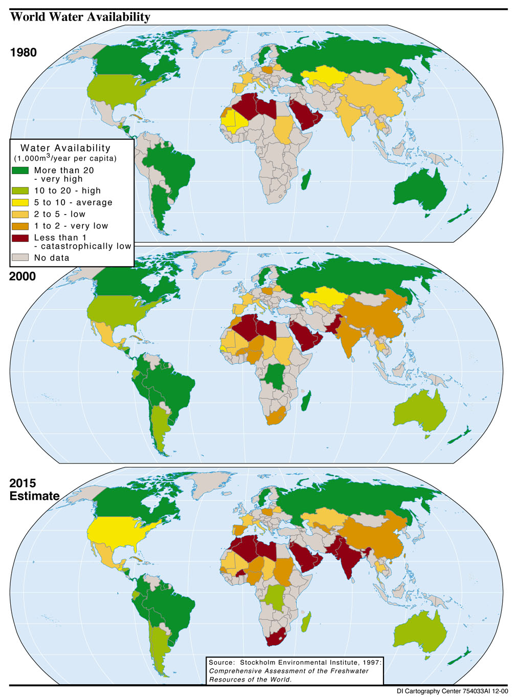 World Water Availability 1980-2015