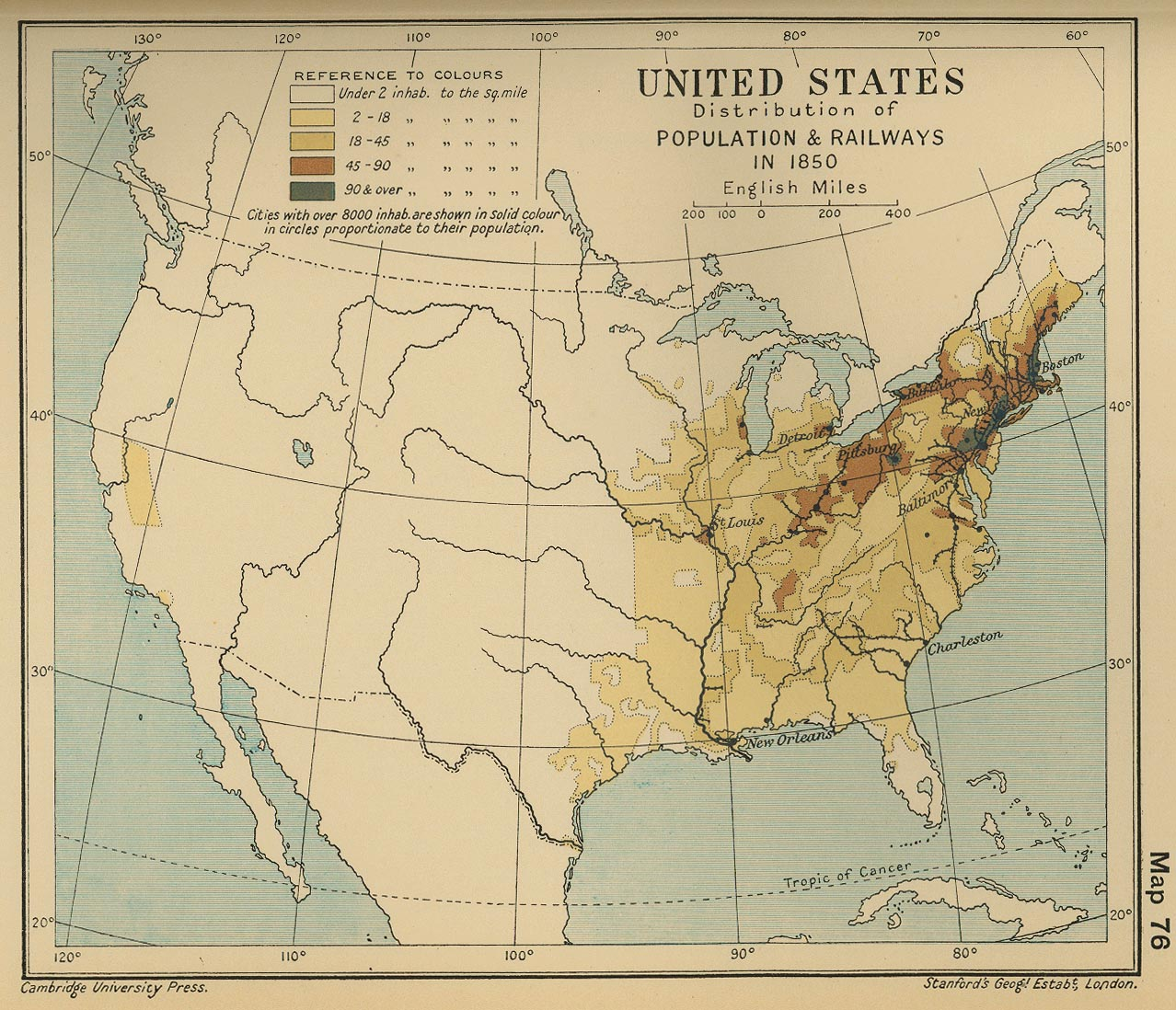 Distribución de la Población y Principales Ferrocarriles en Estados Unidos 1850