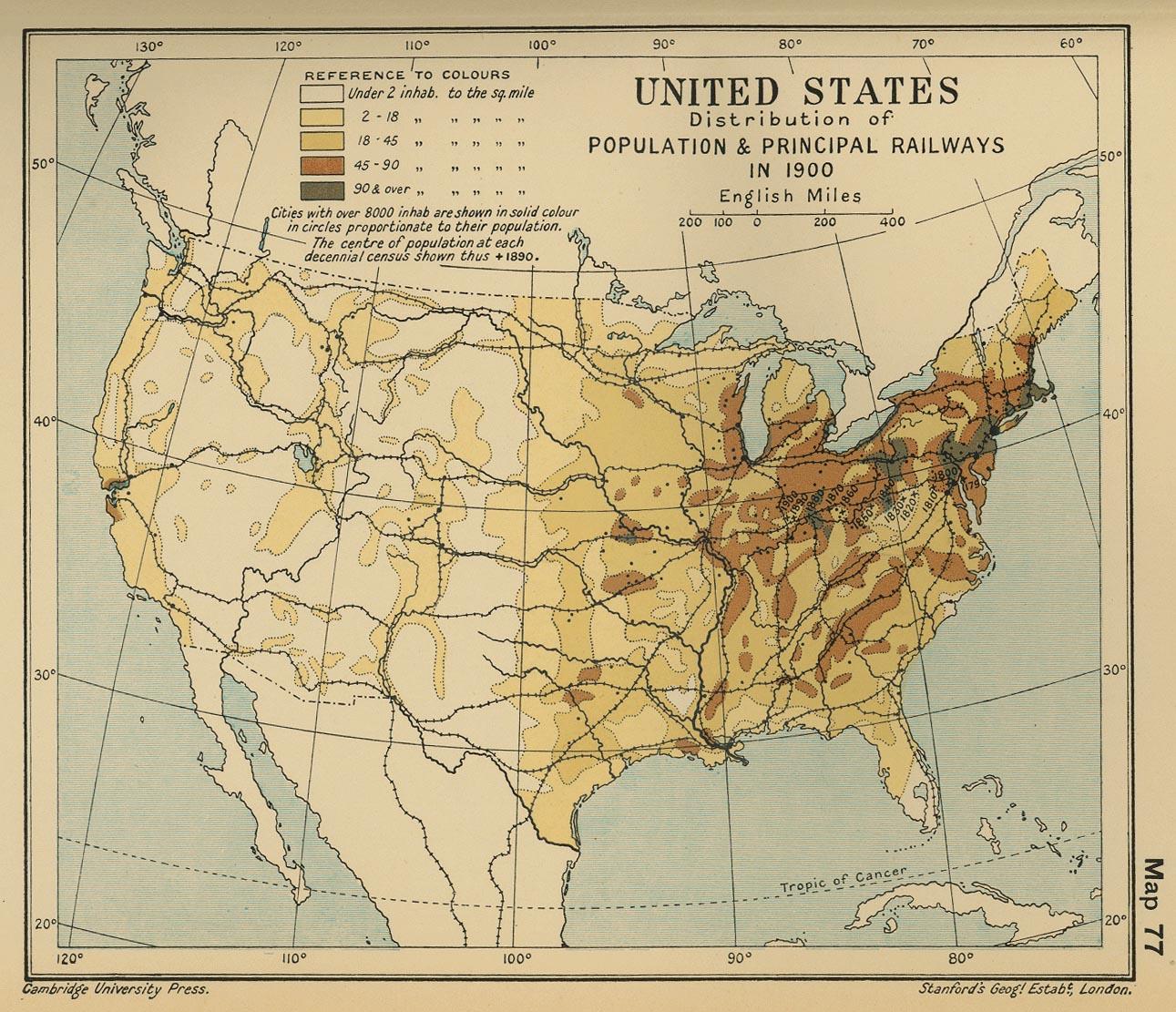 Distribución de la Población y Principales Ferrocarriles en Estados Unidos 1900