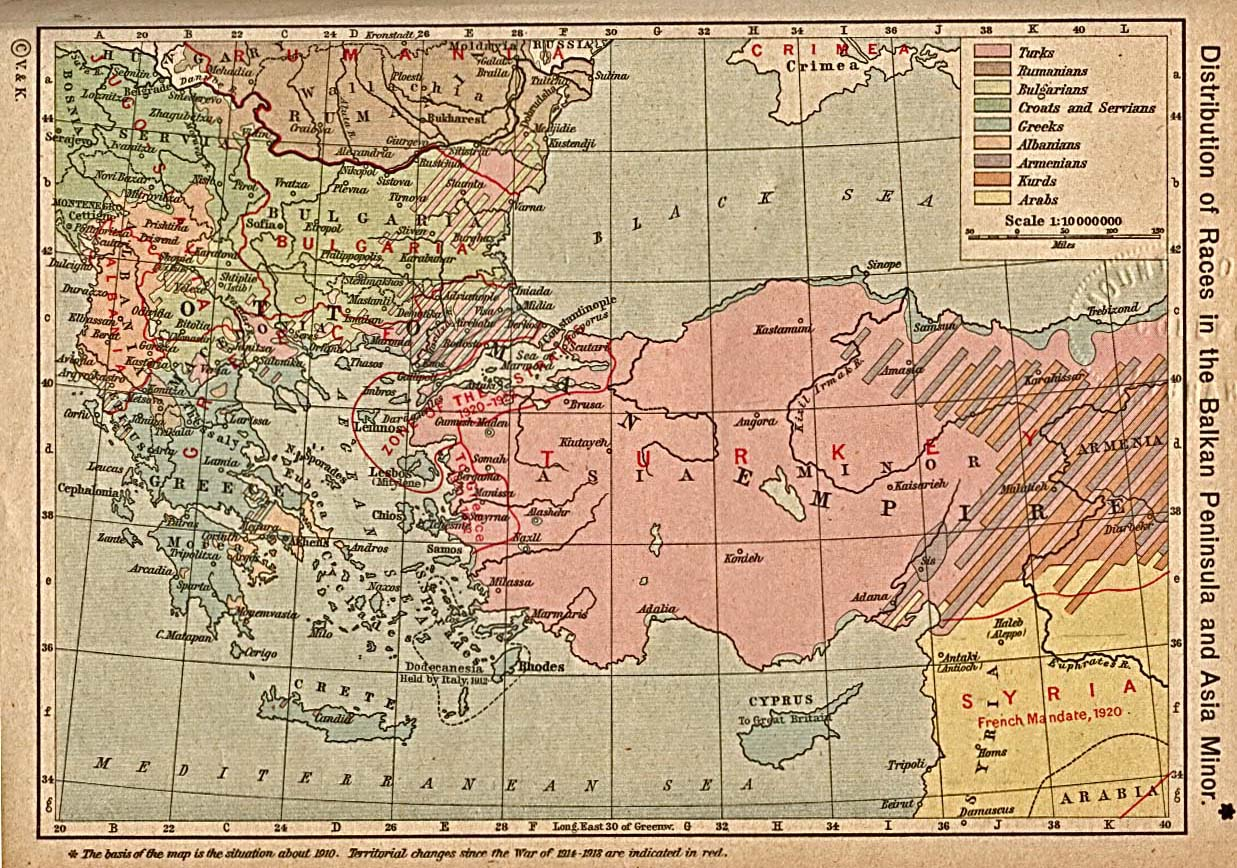 Distribution of Races in the Balkan Peninsula and Asia Minor 1910