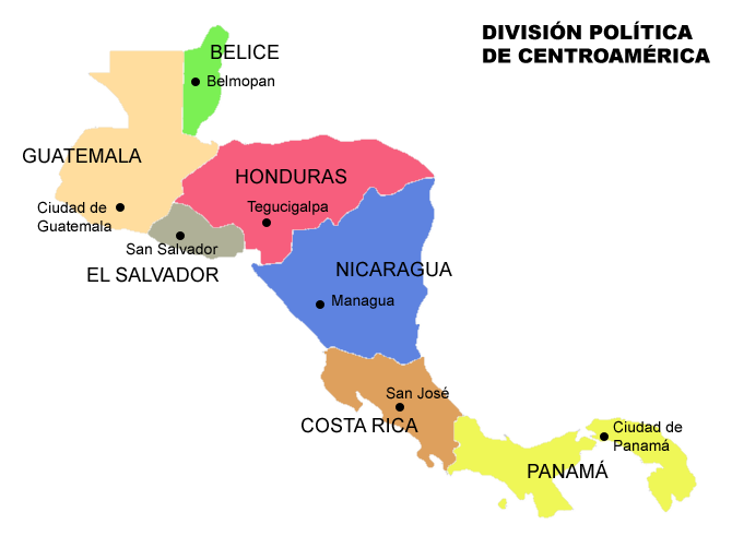 Political division of Central America 2007