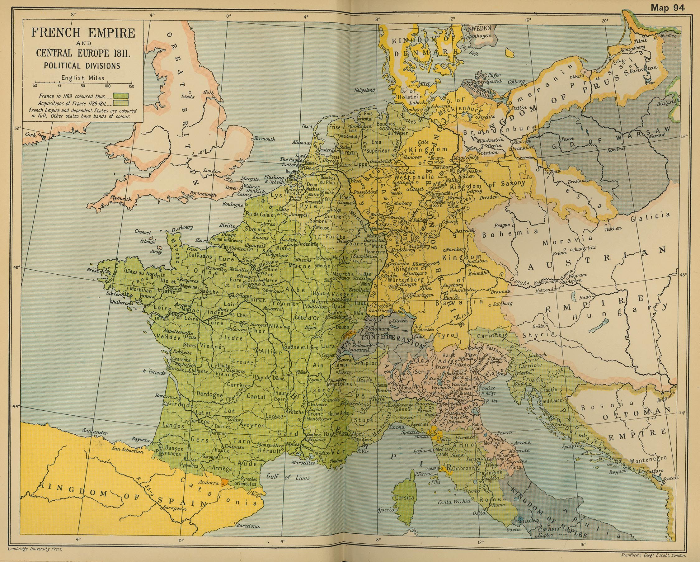 Divisiones políticas del Imperio francés y de Europa Central 1811