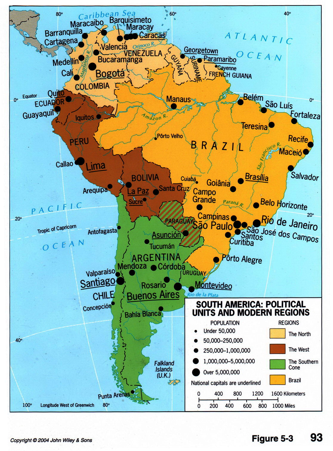 South America political divisions and regions 2004