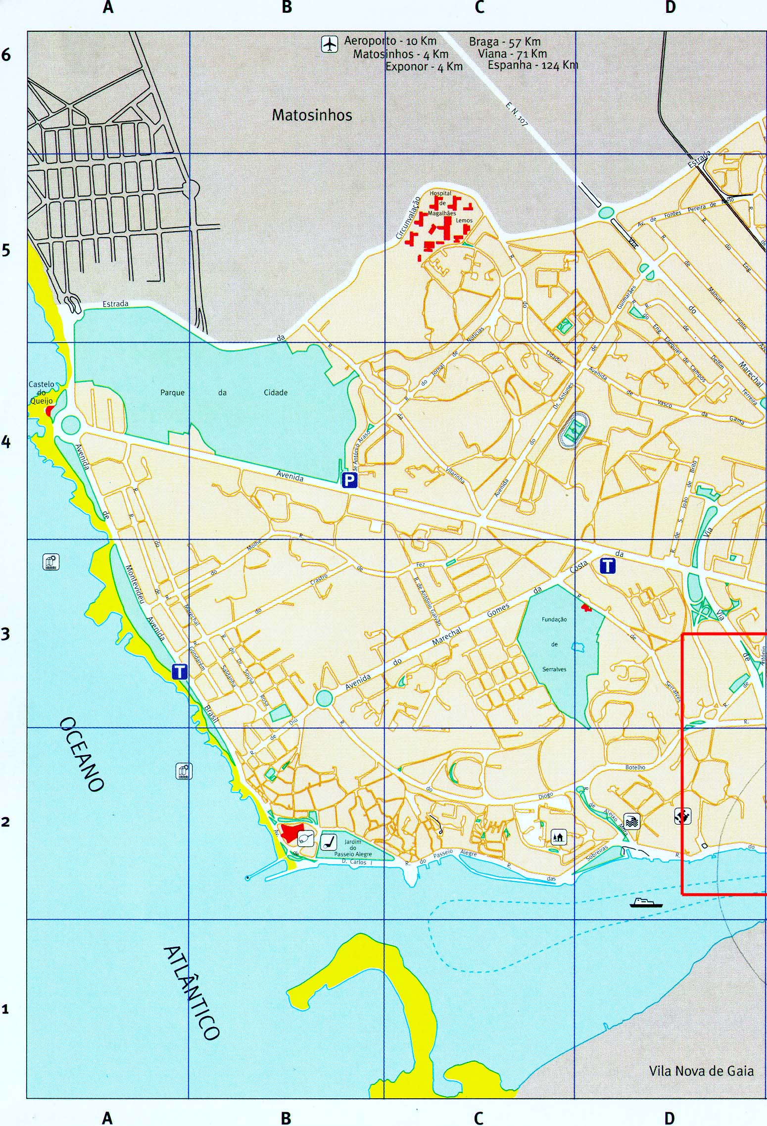 Eastern Porto City Map, Portugal