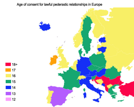 Age of consent laws for male sex in Europe