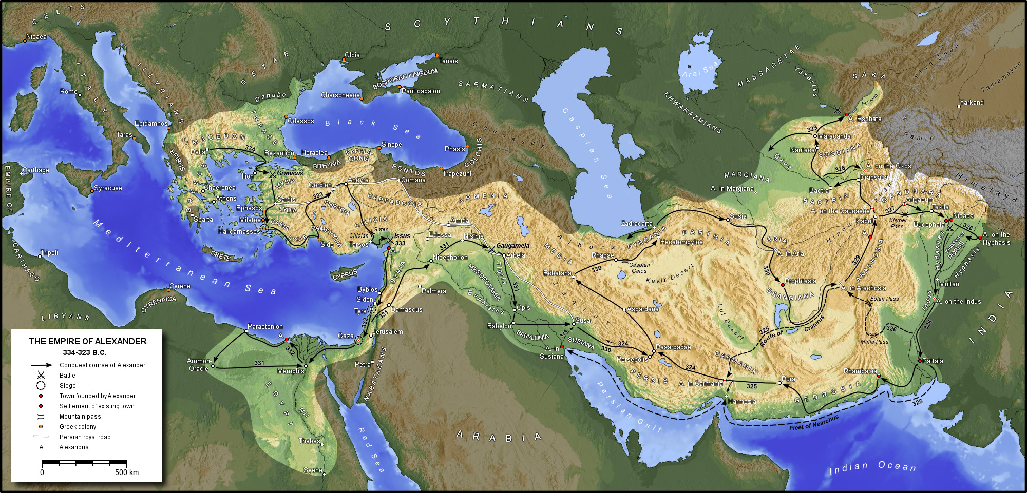 The Macedonian empire of Alexander the Great 323 BC