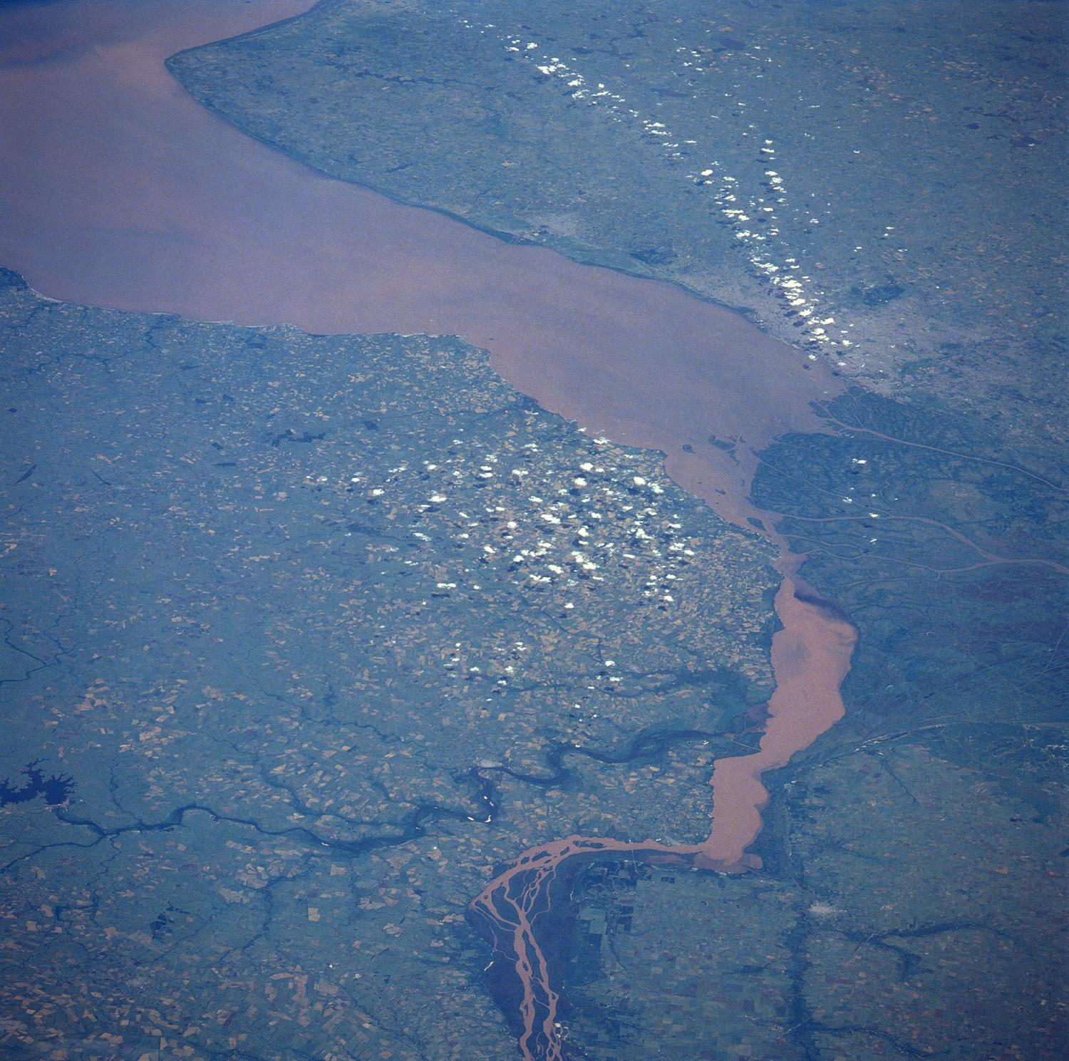 Satellite Image, Photo of Uruguay River, Rio de la Plata, Uruguay