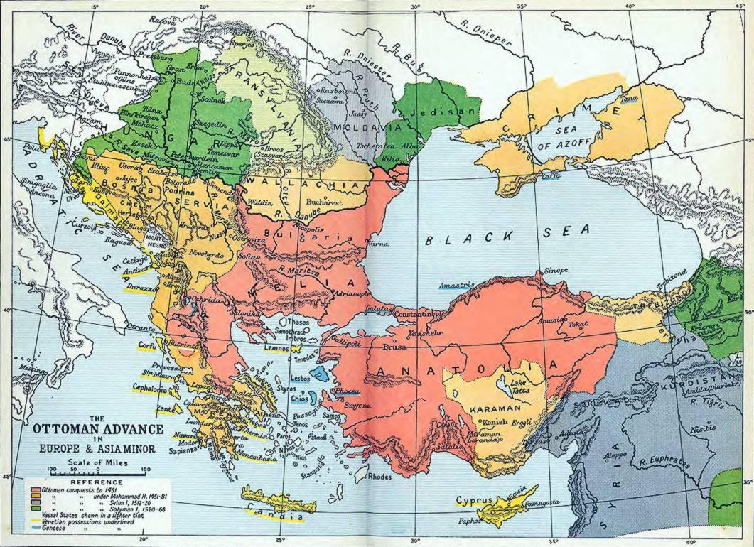 El avance otomano en Europa y Asia Menor 1451-1566