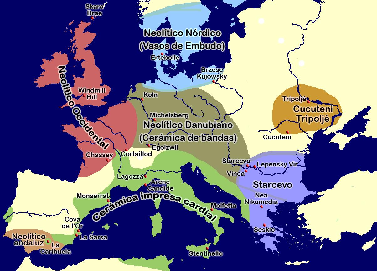 El neolítico en Europa en el 5º milenio a.C.