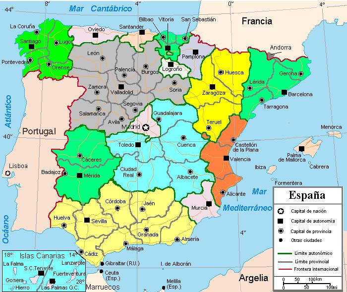 España con división territorial provincial y autonómica 2004