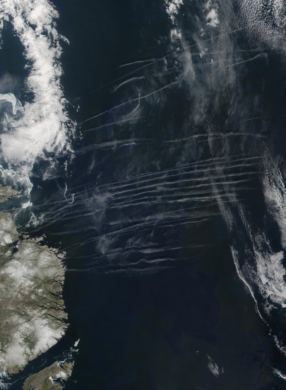 Contrails off the coast of Newfoundland