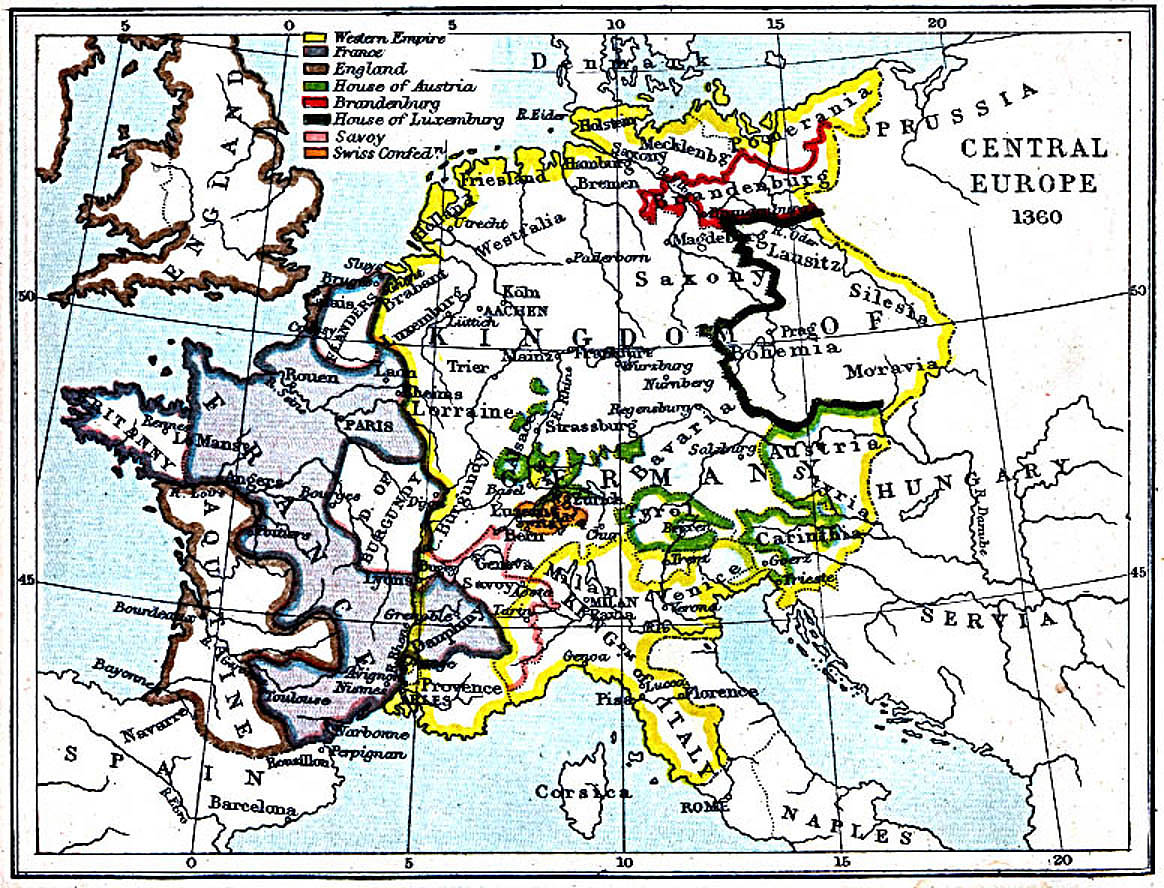 Central Europe Map 1360 A.D.