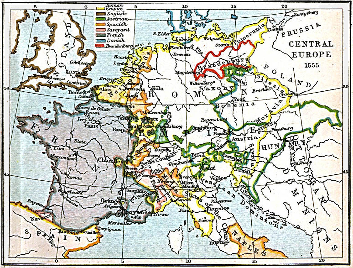 Central Europe Map 1555 A.D.