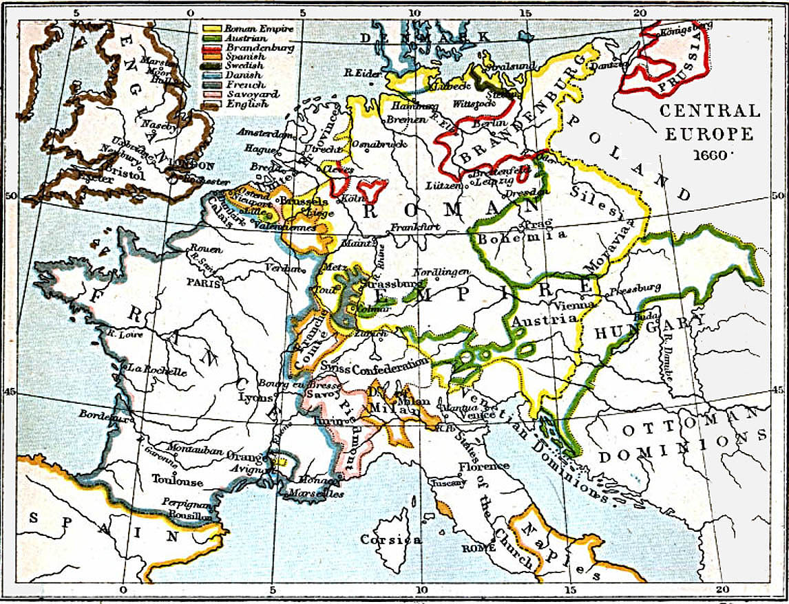 Central Europe Map 1660 A.D.