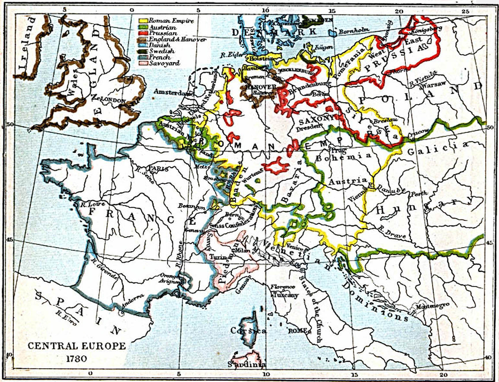 Central Europe Map 1780 A.D.