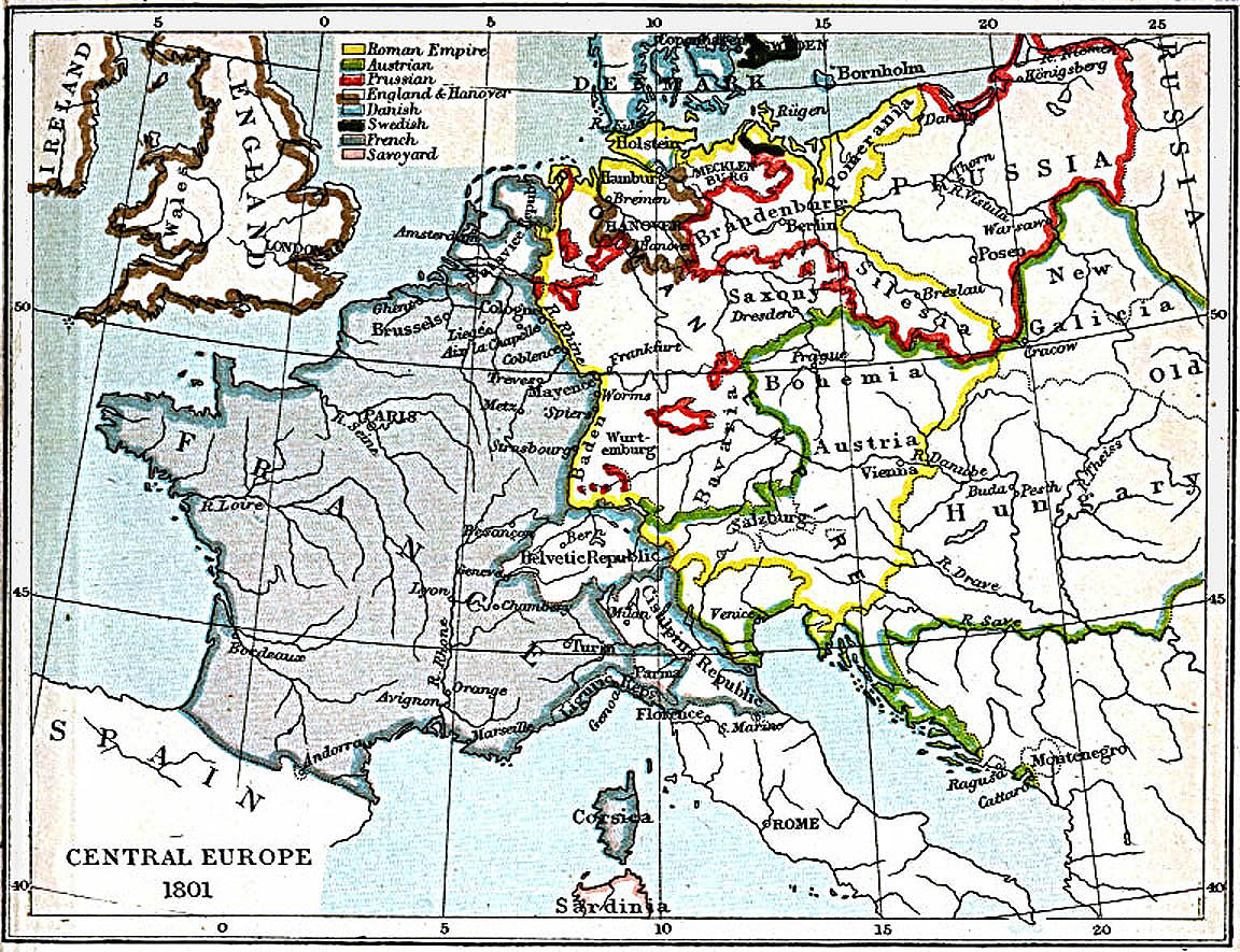 Central Europe Map 1801 A.D.