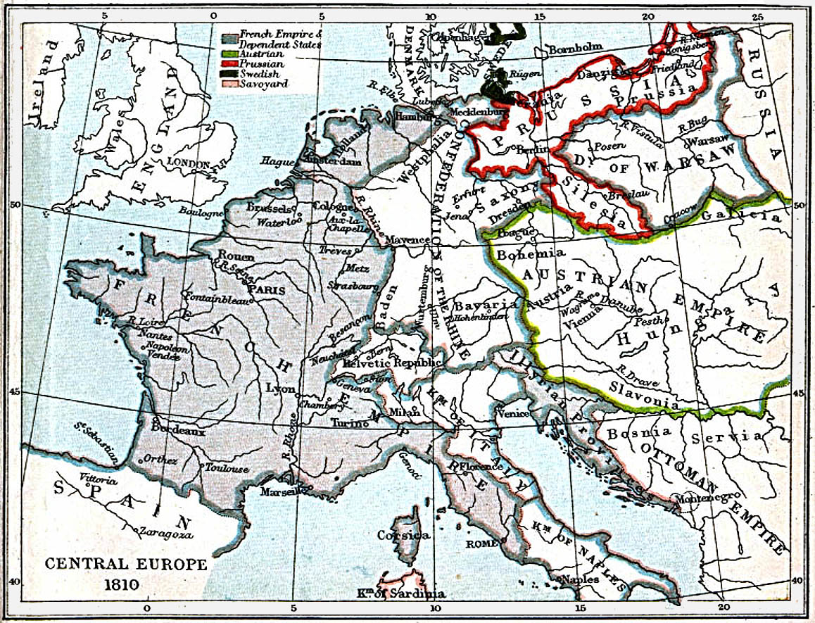 Central Europe Map 1810 A.D.