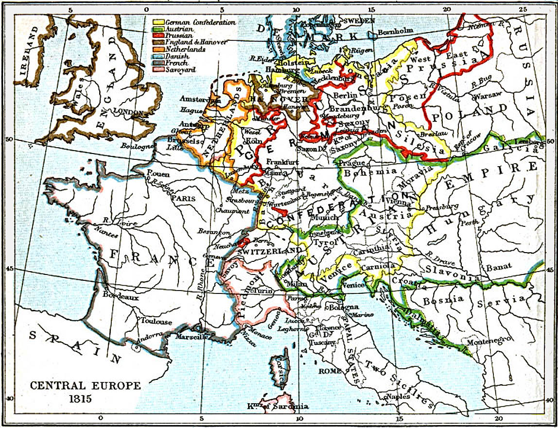 Central Europe Map 1815 A.D.