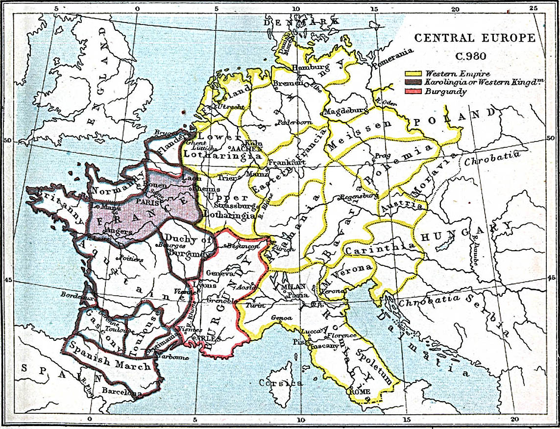 Central Europe Map 980 A.D.