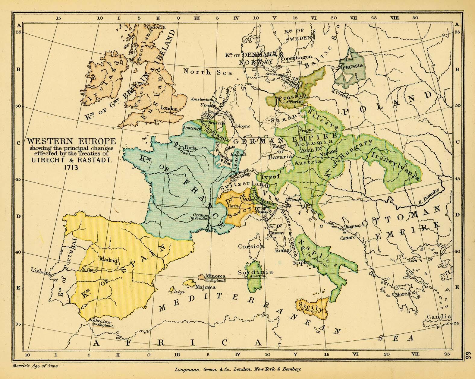 Western Europe after the  Treaties of Utrecht & Rastatt 1713