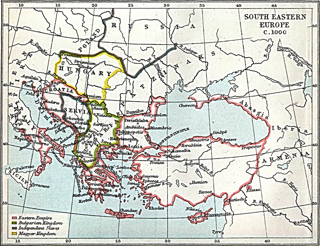 South Eastern Europe Map 1000 A.D.