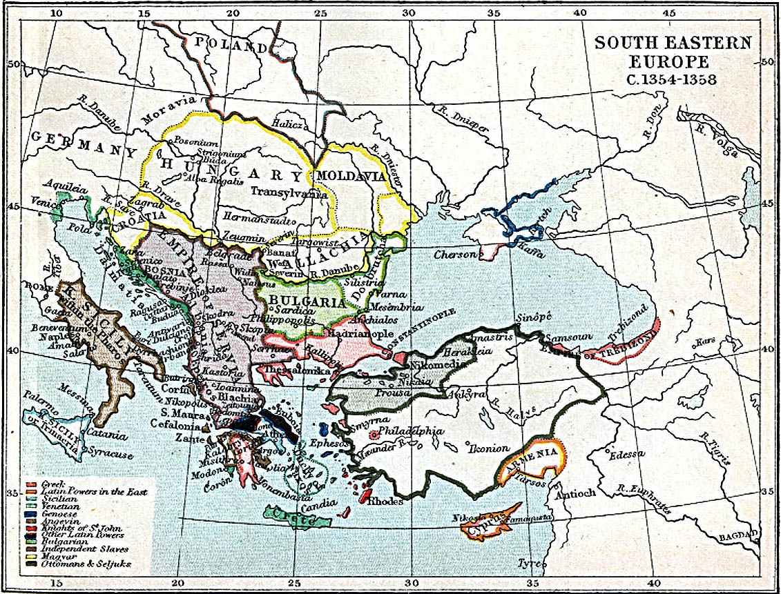 South Eastern Europe Map 1354 - 1358 A.D.