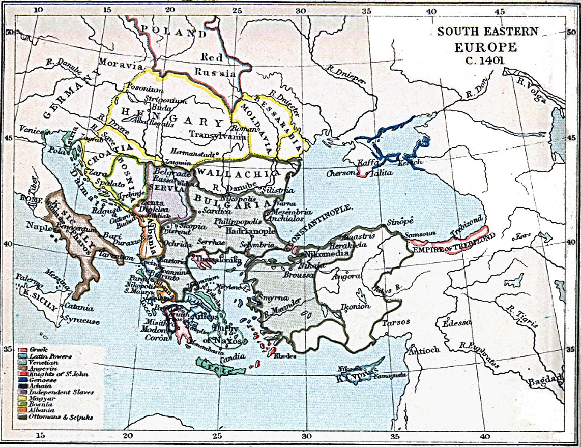 South Eastern Europe Map 1401 A.D.