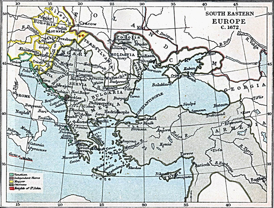 South Eastern Europe Map 1672 A.D.