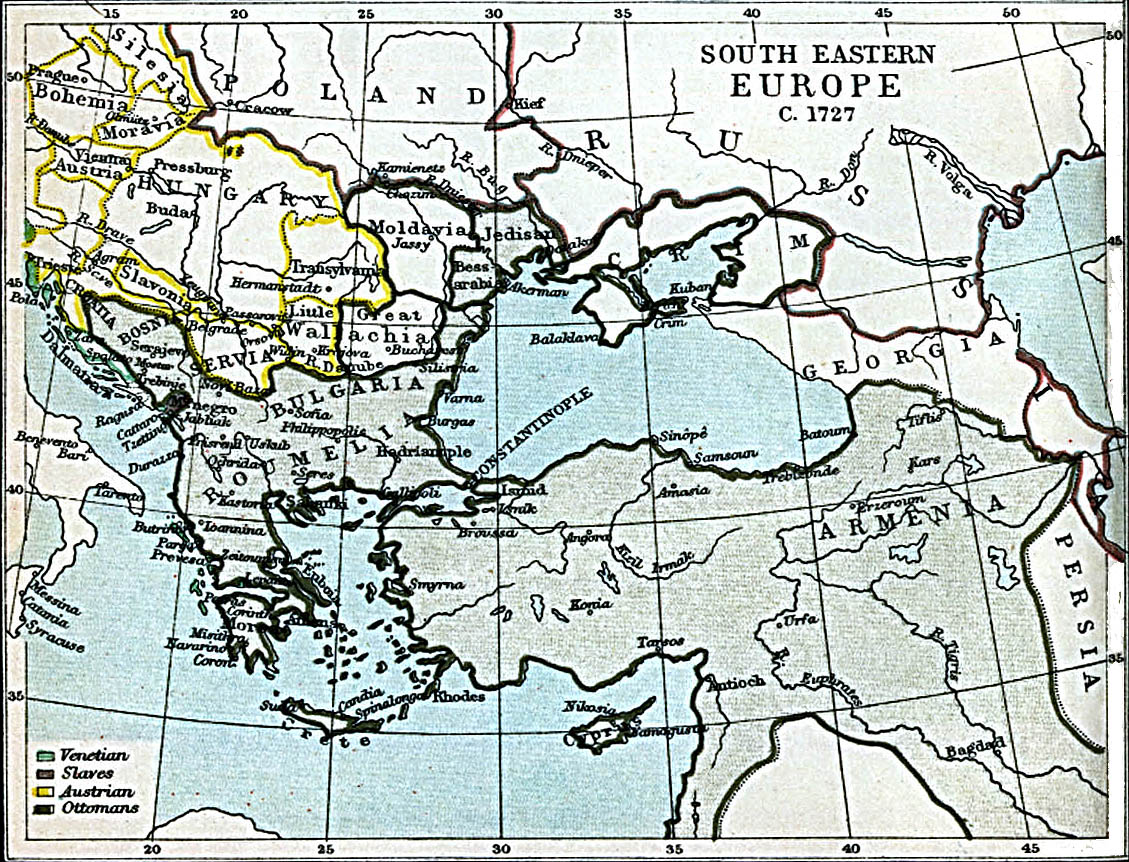 South Eastern Europe Map 1727 A.D.