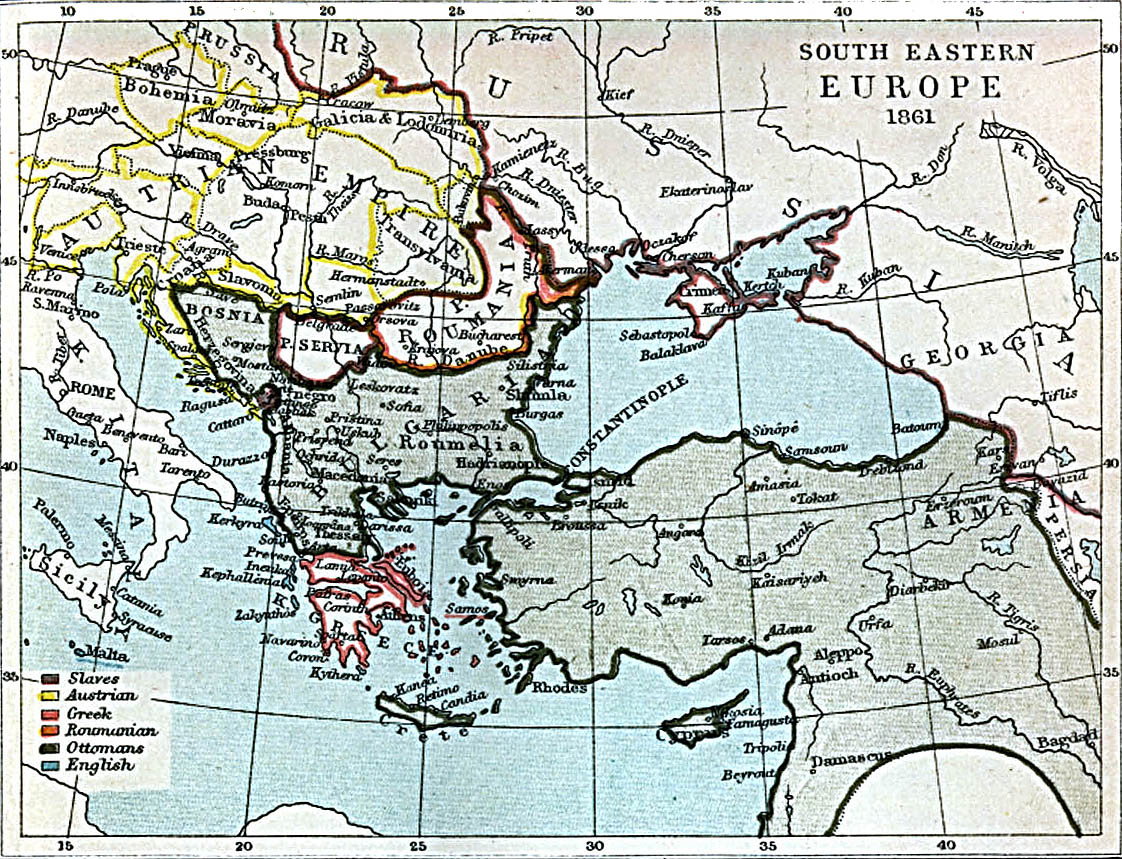 South Eastern Europe Map 1861 A.D.