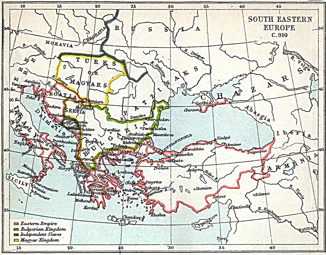 South Eastern Europe Map 900 A.D.