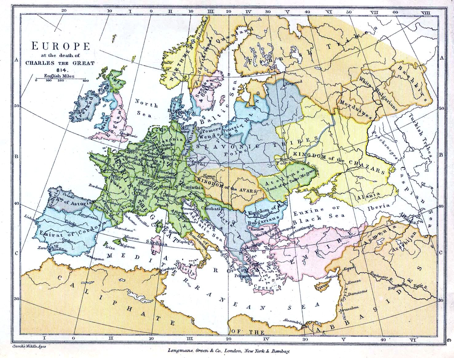 Europe at the death of Charlemagne, 814