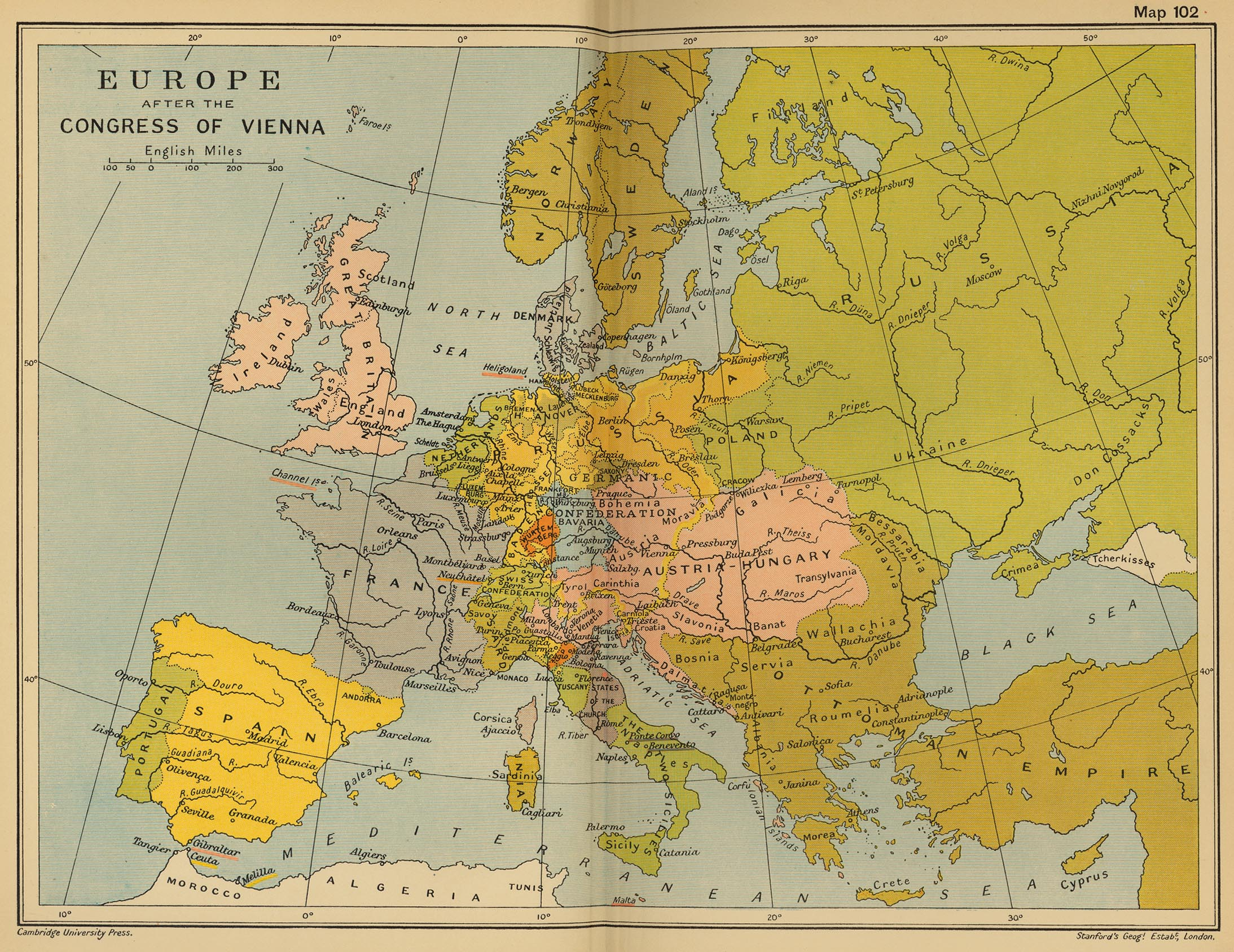 Europe in 1815 after the Congress of Vienna