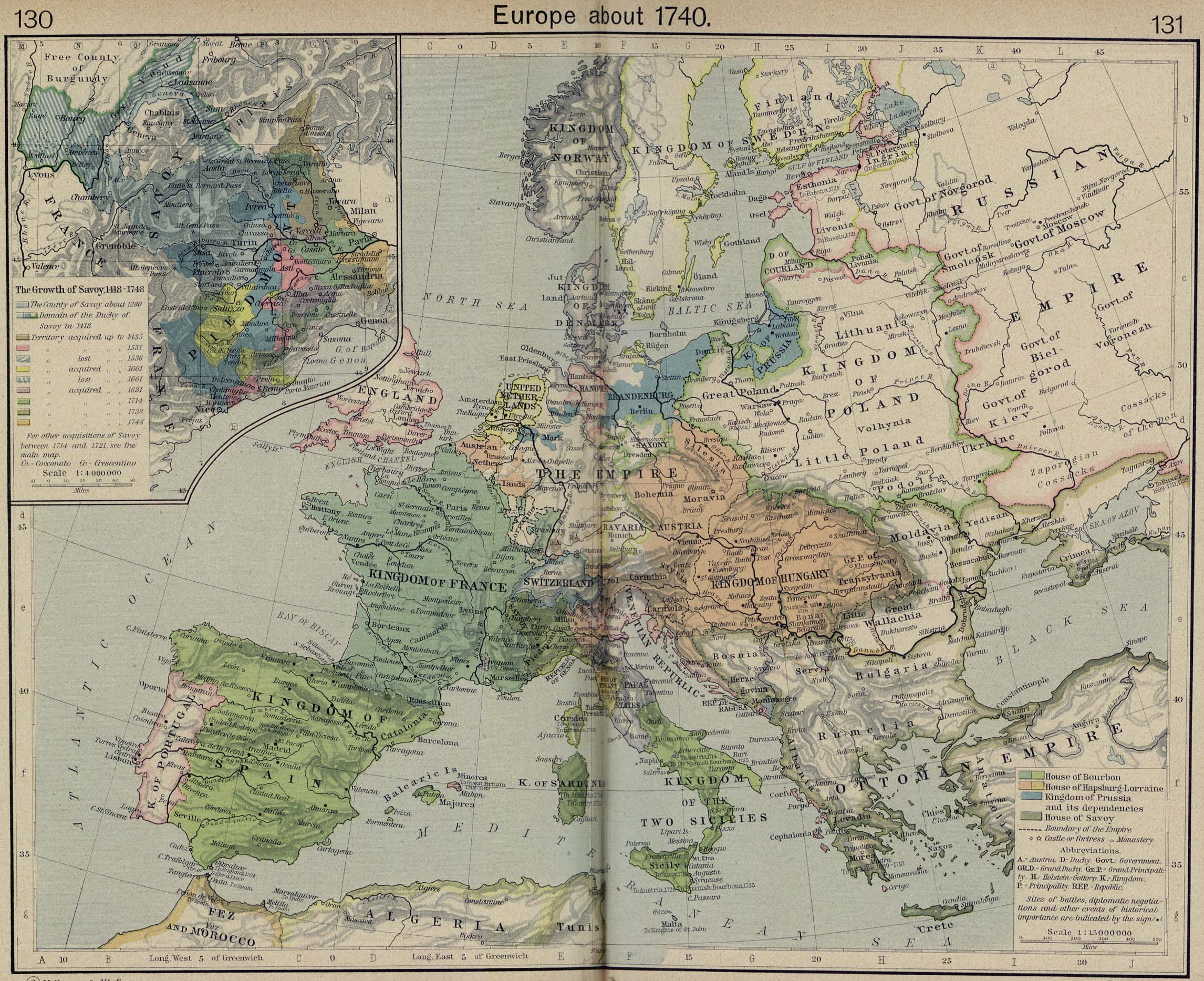 Europe about 1740