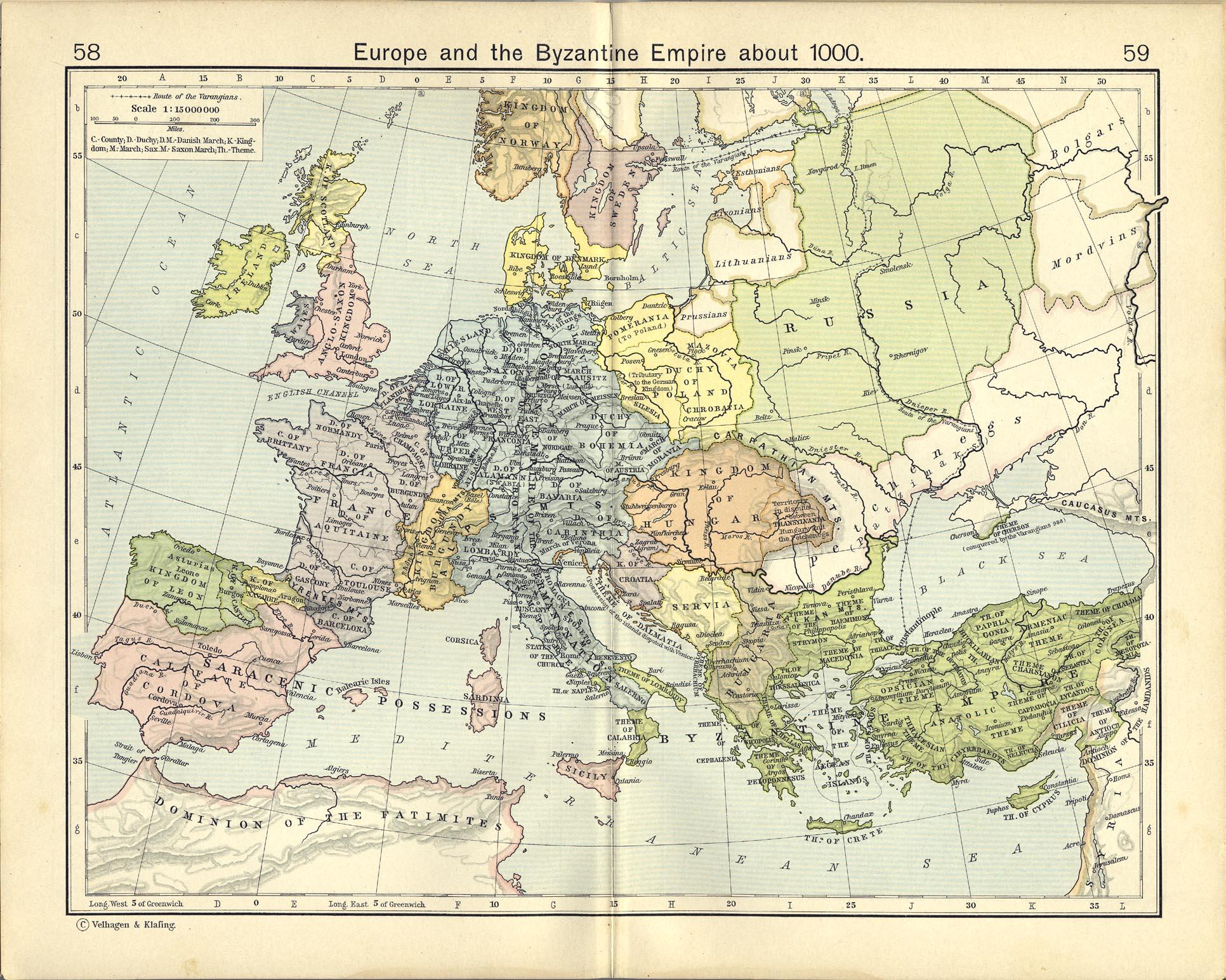 Europa y el Imperio Bizantino circa 1000