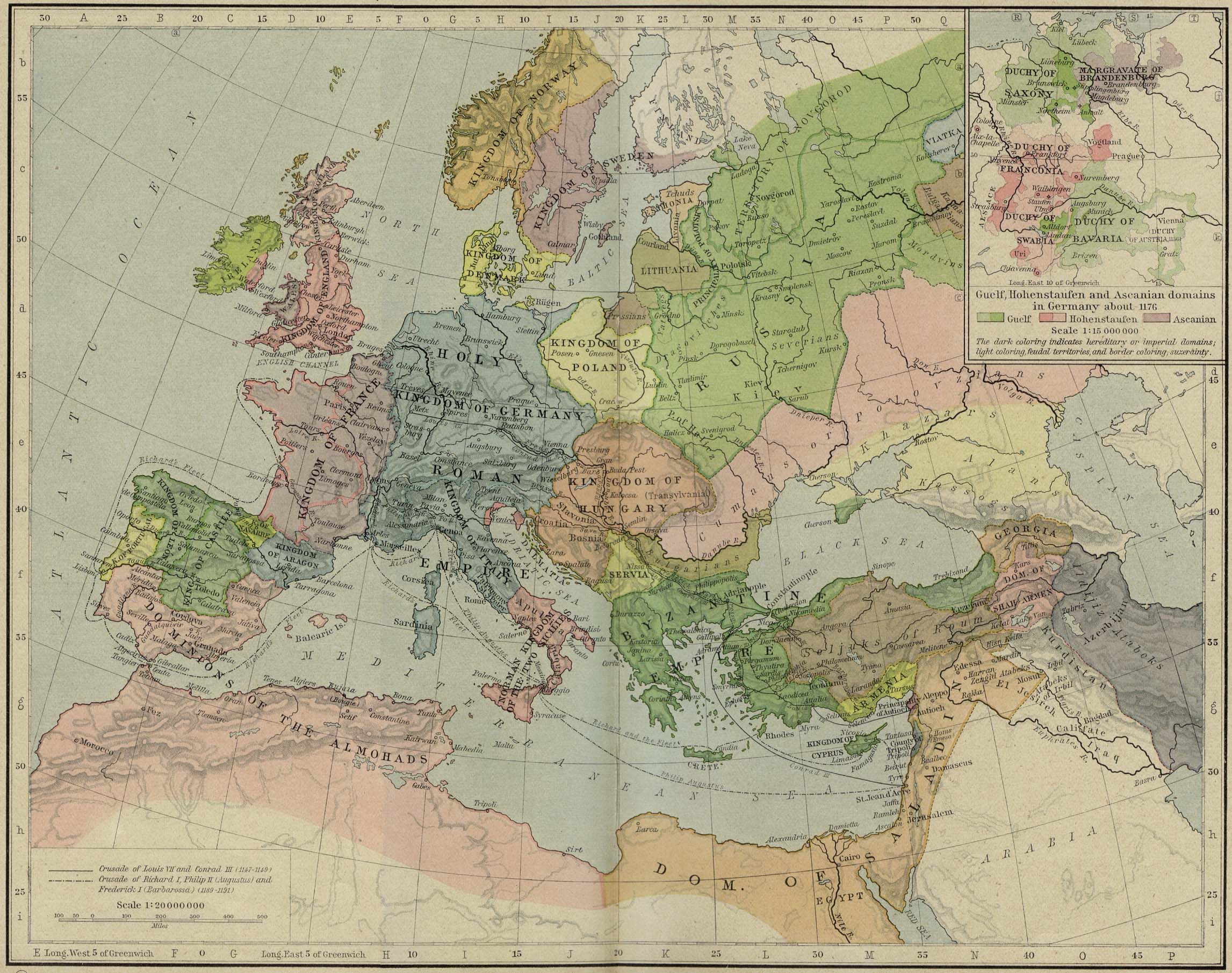 Europe and the Mediterranean lands about 1190