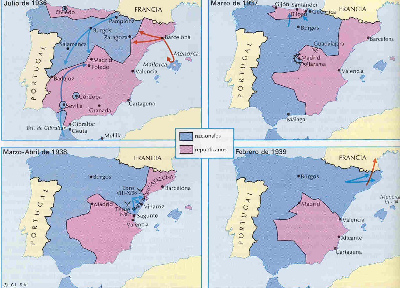 Evolution of the Spanish Civil War 1936-1939