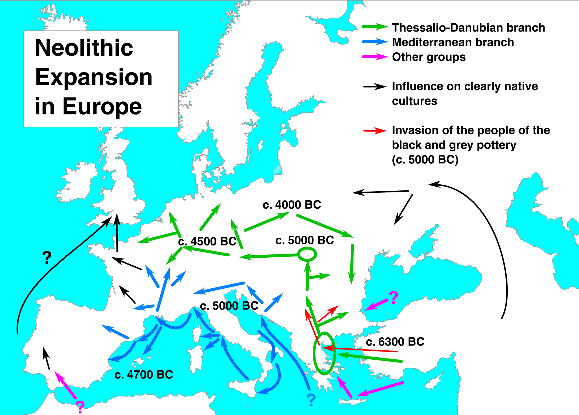 Neolithic expansion in Europe 6300-4000 BC