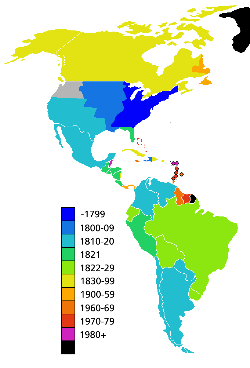 Mapa de Fechas de independencia de los pases de Amrica