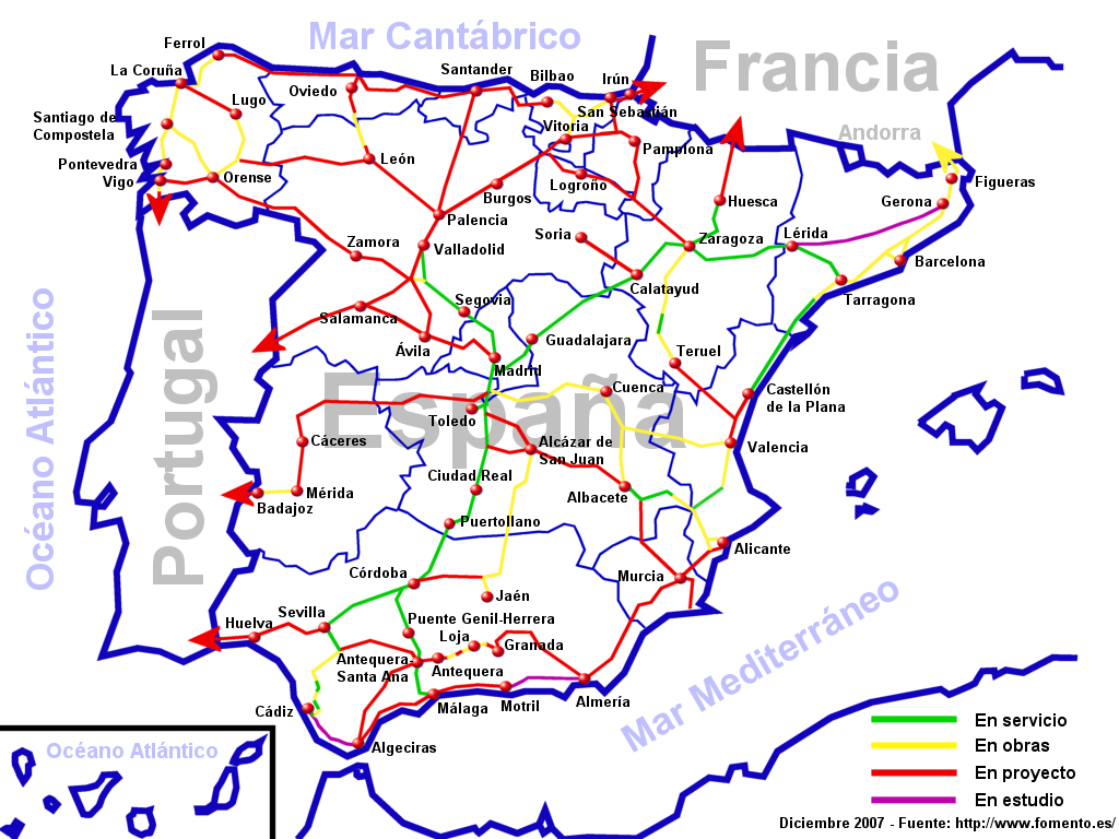 Spain high-speed railway network 2007