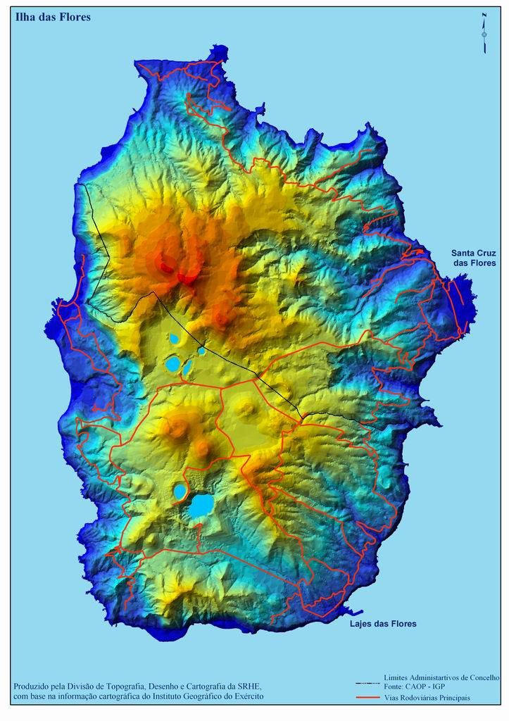 Flores Island Map, Portugal