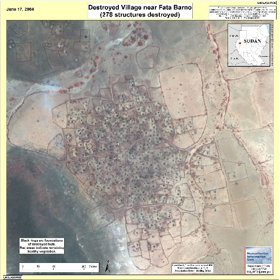 Satellite Image, Photo of Destroyed Village Near Fata Barno, Darfur, Sudan, June 17, 2004