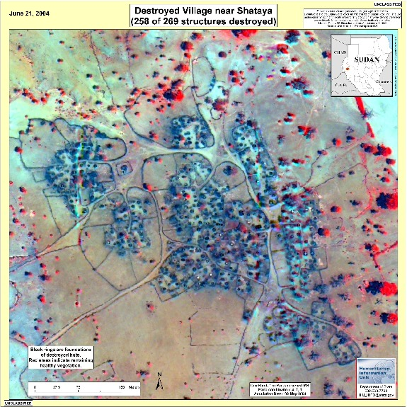 Satellite Image, Photo of Destroyed Village Near Shataya, Darfur, Sudan, June 21, 2004