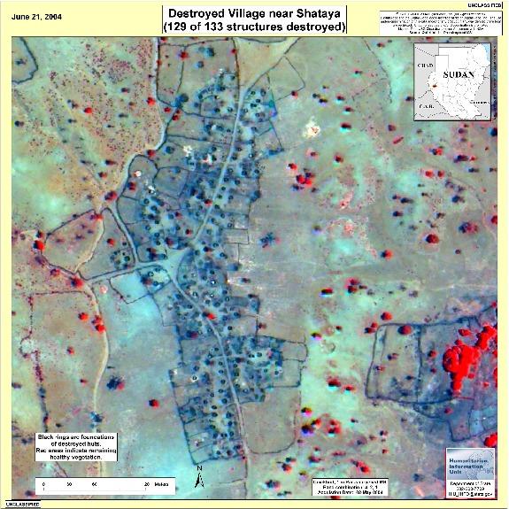 Foto, Imagen Satelite de Aldeas Destruidas Cerca de Shataya, Darfur, Sudán, Junio 21, 2004