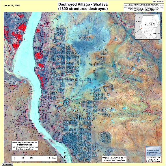 Satellite Image, Photo of Destroyed Village Near Shataya, Darfur, Sudan, June 21, 2004