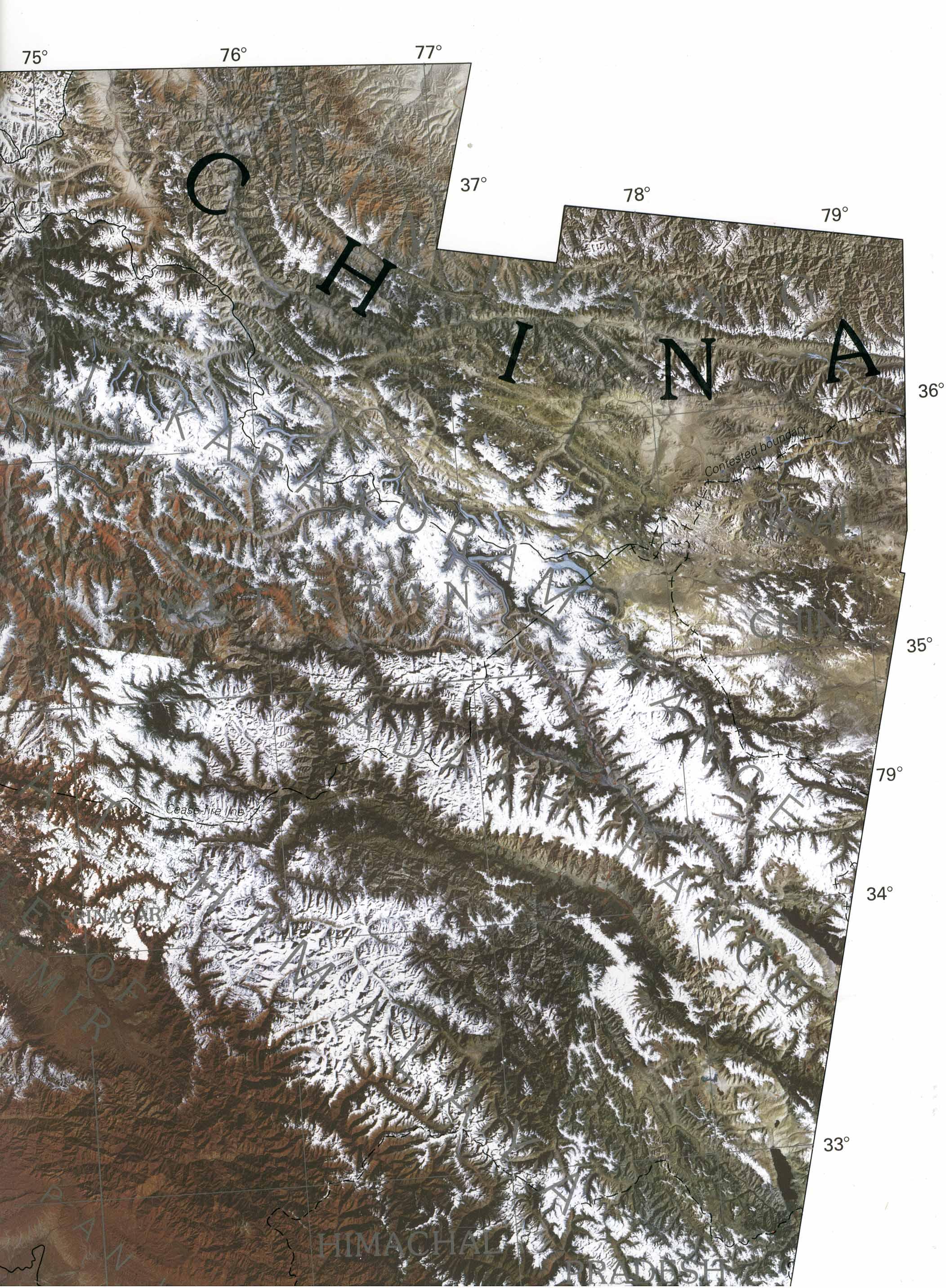 Foto, Imagen Satelite de la Sección Oriental de Cachemira y de los Territorios del Norte (Pakistán) 1997