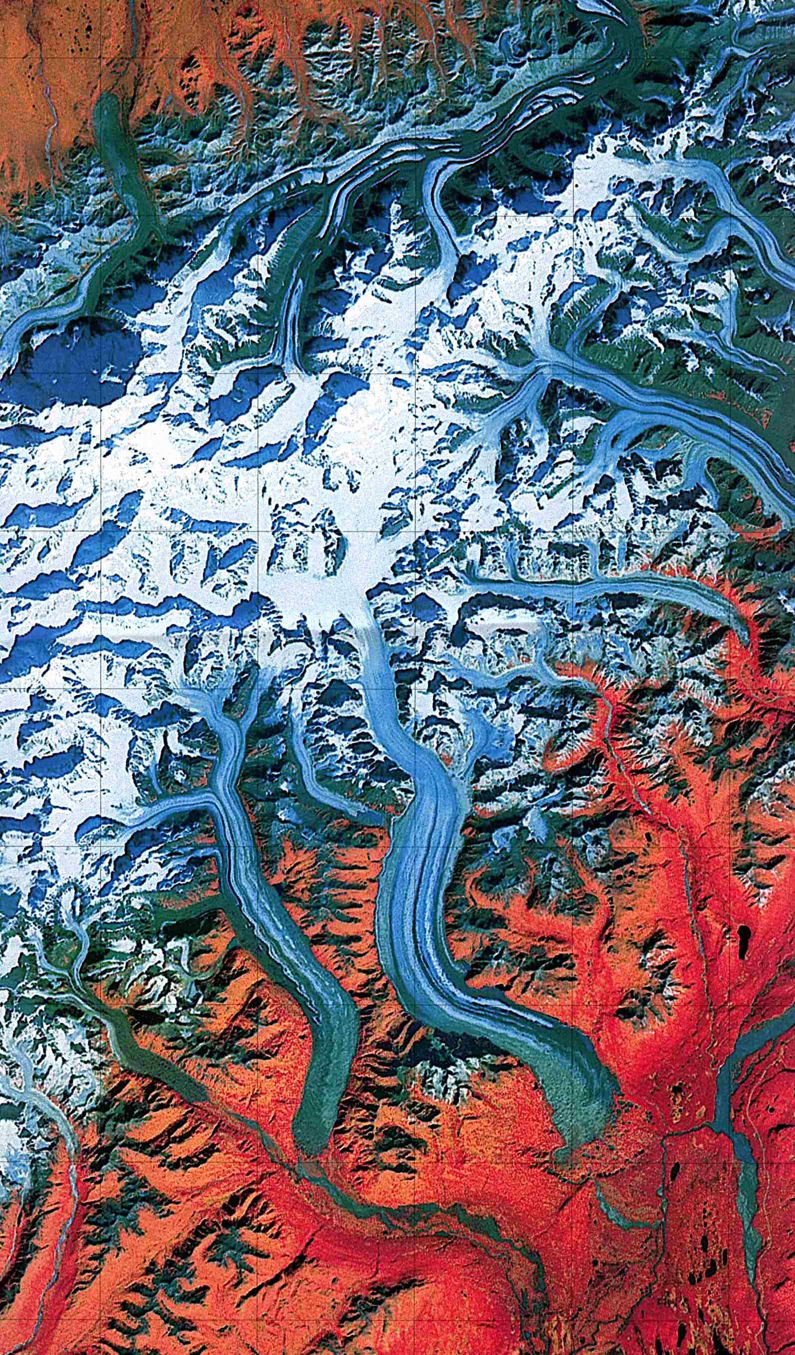 Foto, Imagen Satelite del Parque Nacional y Reserva Natural de Denali, Alaska, Estados Unidos