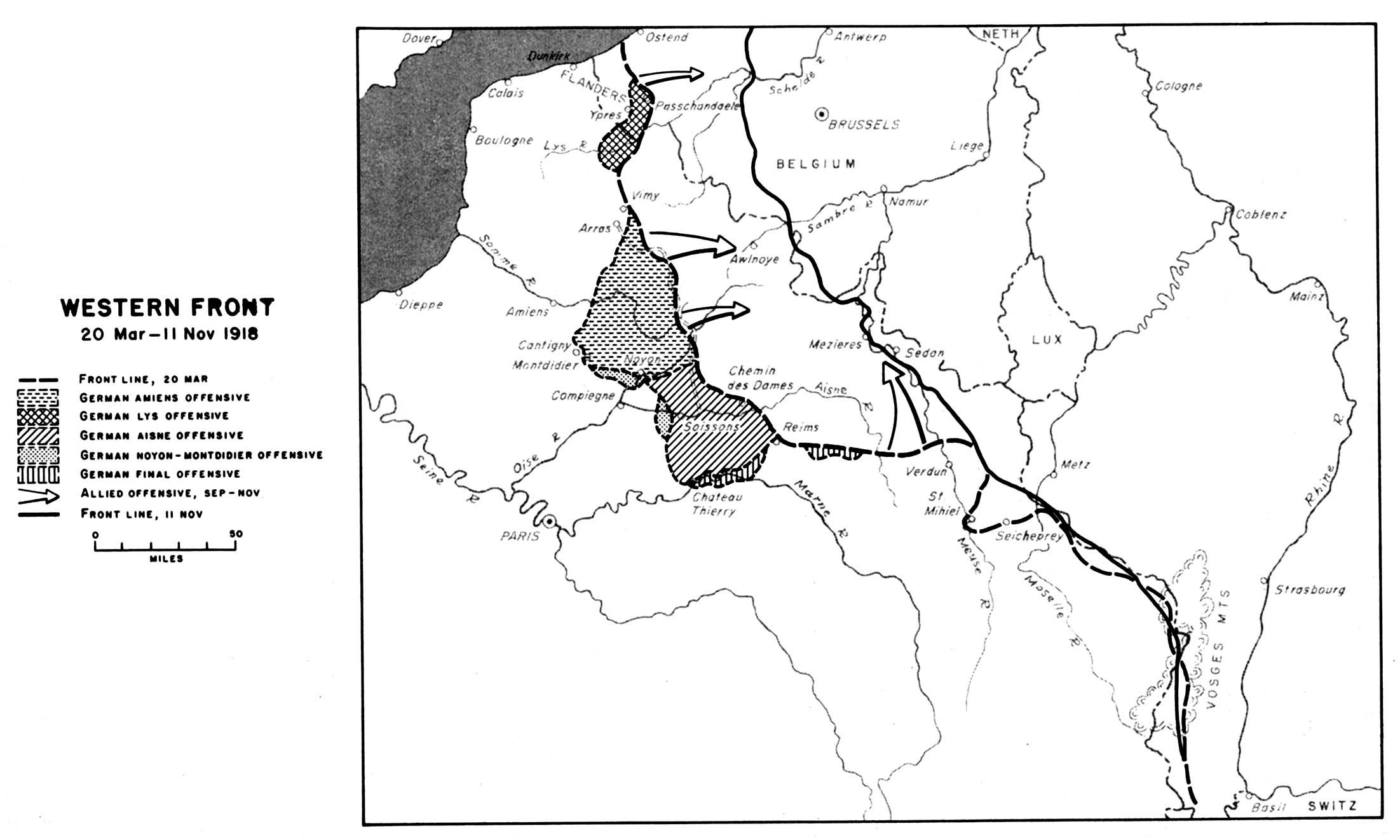 Frente Occidental, Primera Guerra Mundial,  20 Marzo - 11 Noviembre 1918