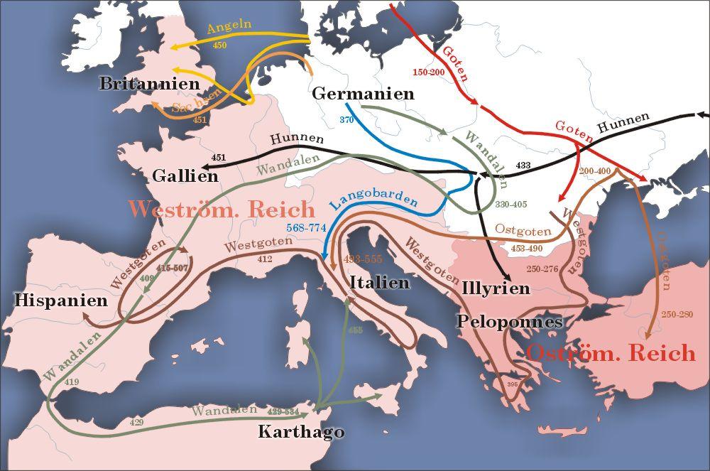Migration period in the Roman Empire 100 to 500
